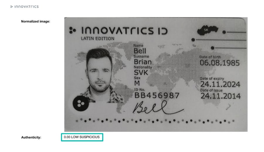 Innovatrics Digital Onboarding Toolkit can evaluate the authenticity of the ID based on the color profile.